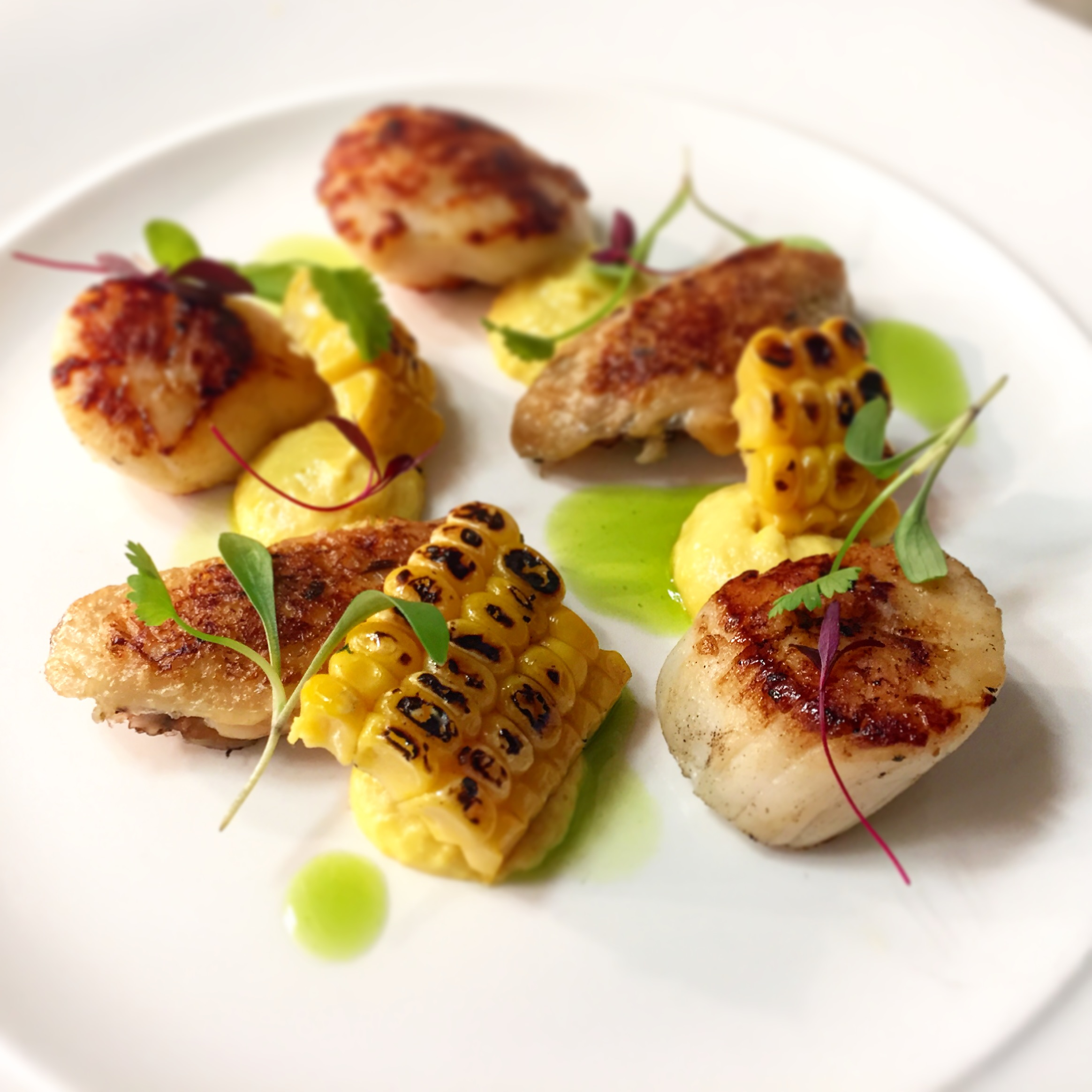 scallops with boneless chicken wings and sweetcorn