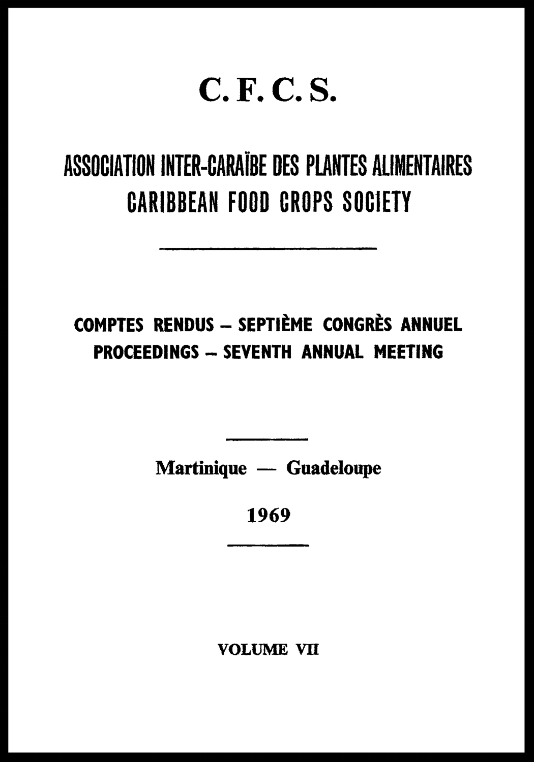 1969, Vol. 7. Martinique, GP
