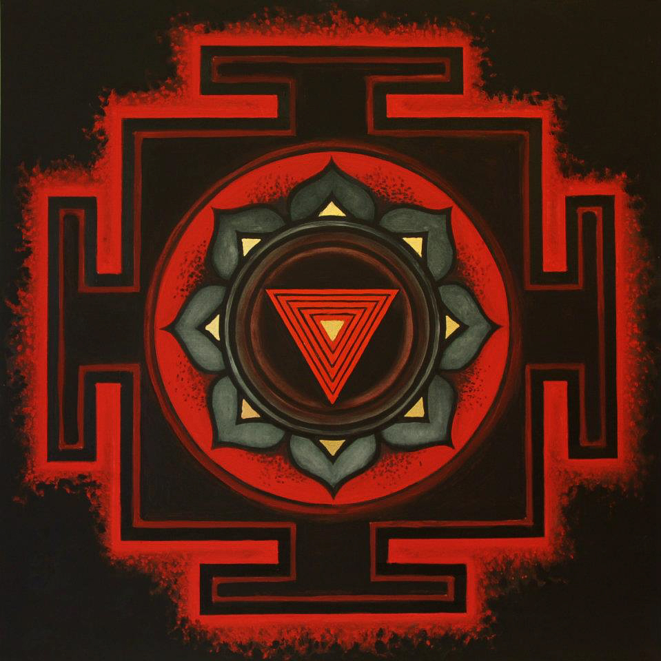 Yantra of the Great Cosmic Power Kali, oil on canvas 100x100 cm (see full image in Gallery)