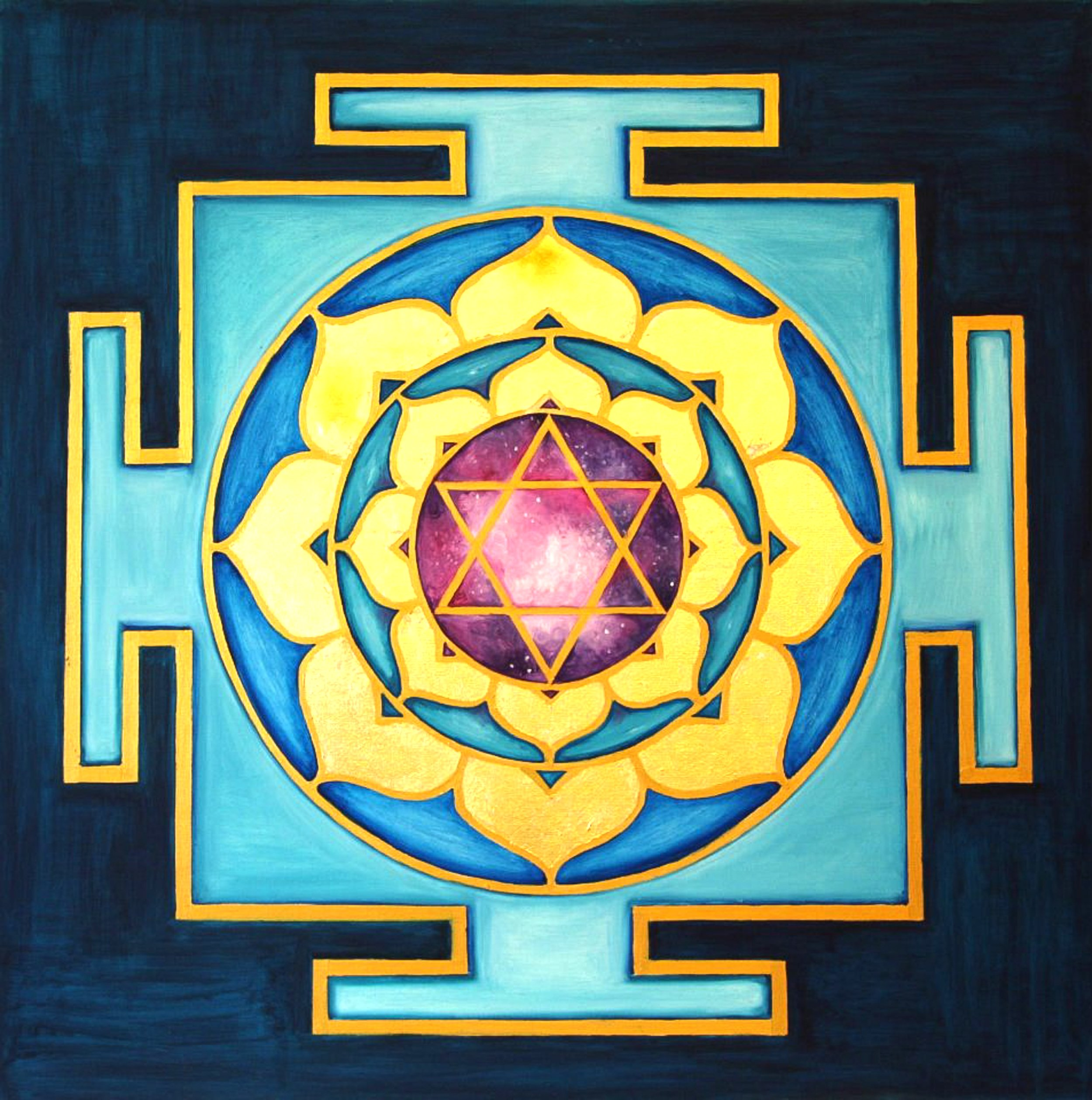 Yantra of the Great Cosmic Power Bhuvaneshwari, oil on canvas, 100x100 cm (see full image in Gallery)