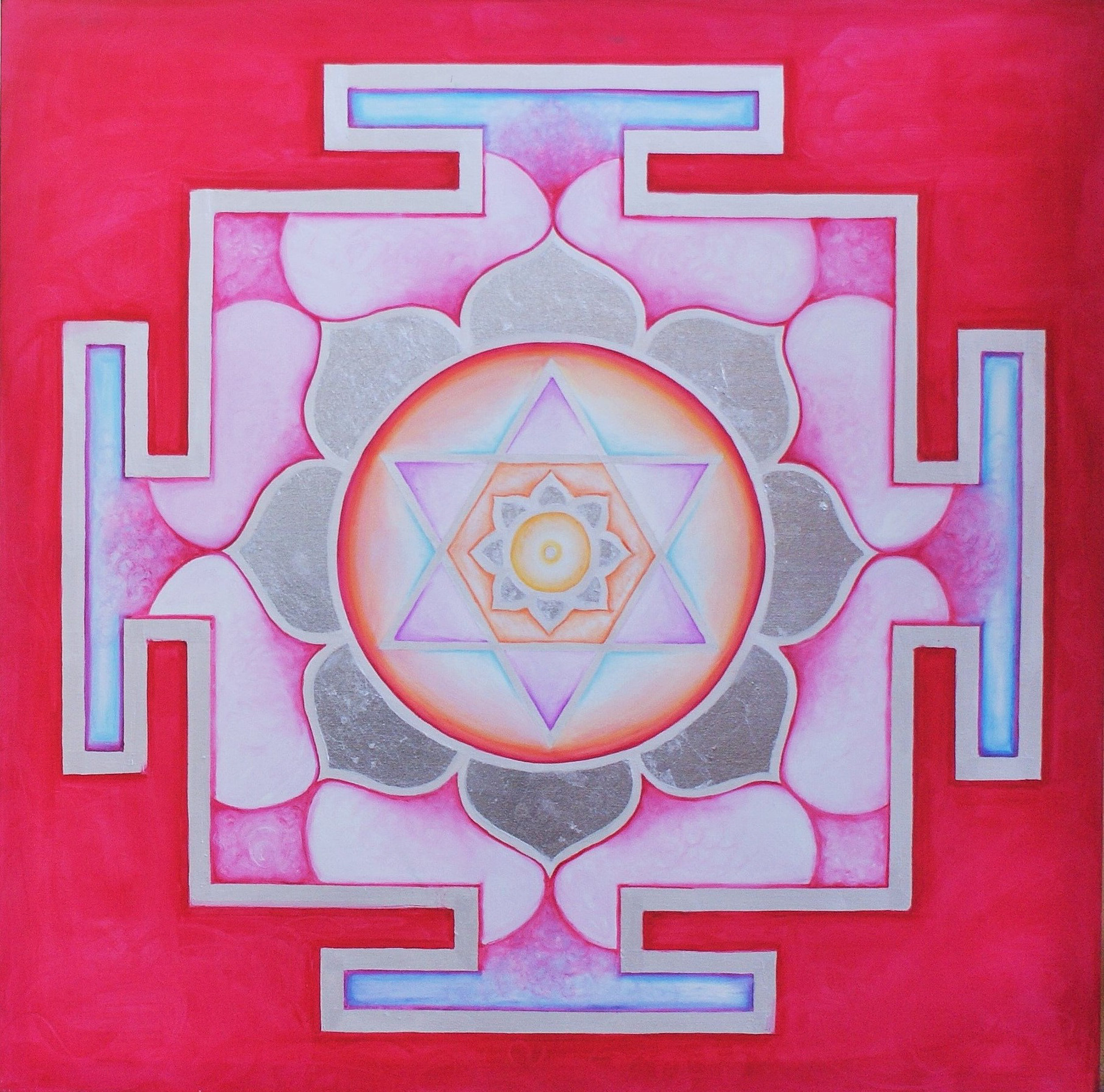 Yantra of the Great Cosmic Power Kamalatmika, oil on canvas, 100x100 cm (see full image in Gallery)