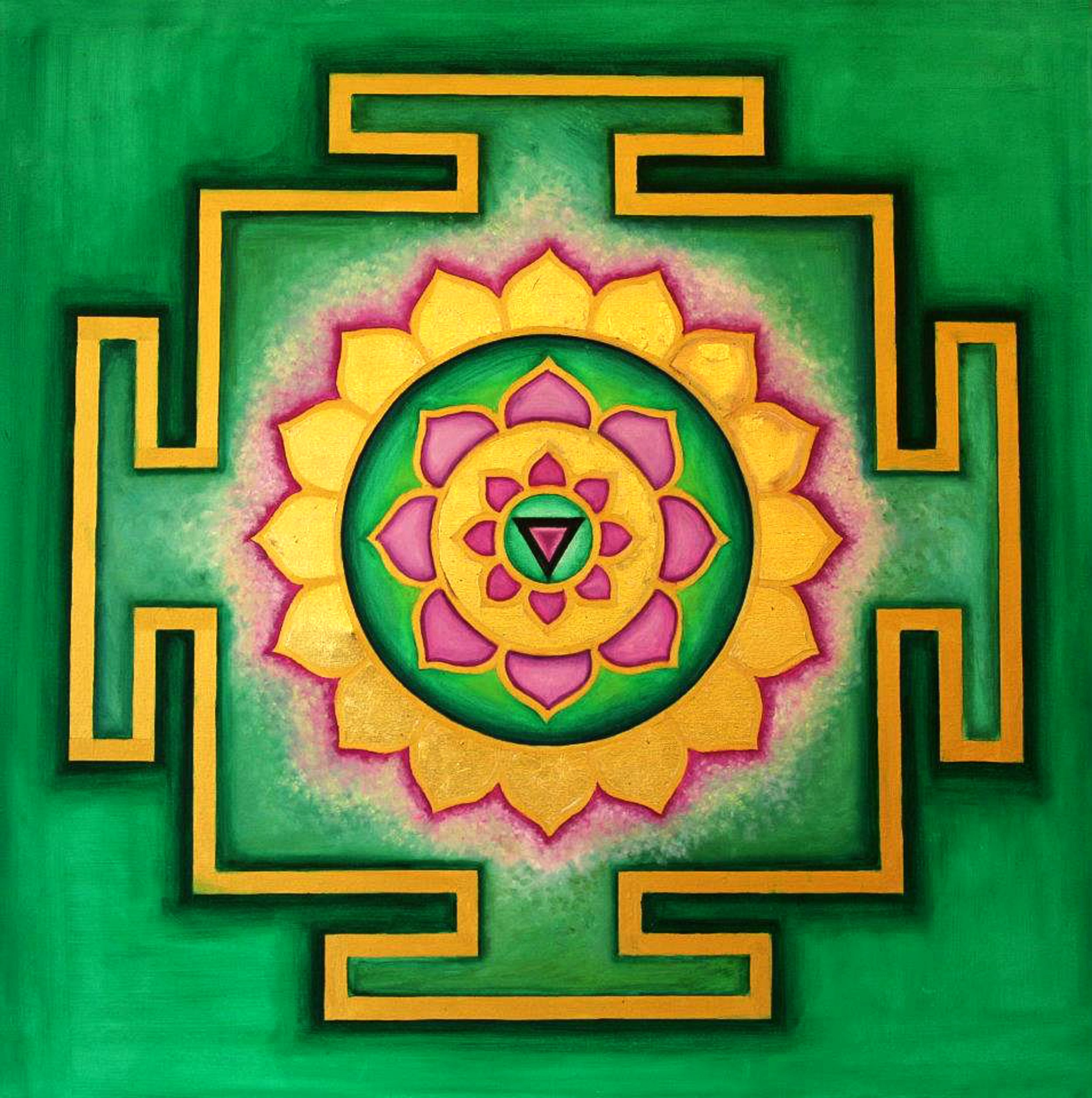 Yantra of the Great Cosmic Power Matangi, oil on canvas, 100x100 cm (see full image in Gallery)