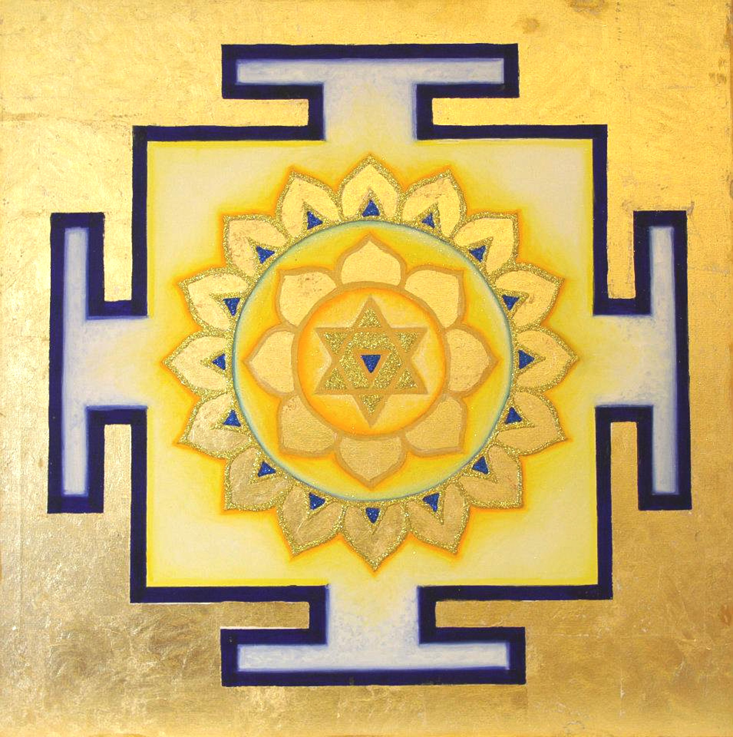 Yantra of the Great Cosmic Power Bagalamukhi, oil on canvas, 100x100 cm (see full image in Gallery)