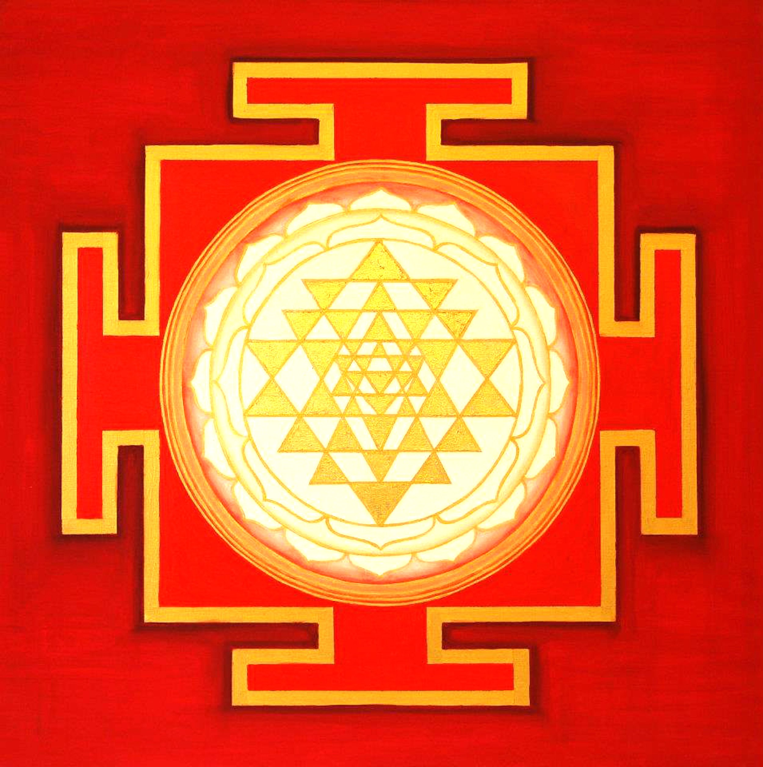 Yantra of the Great Cosmic Power Tripura Sundari100x100 cm by Ines Honfi.jpg