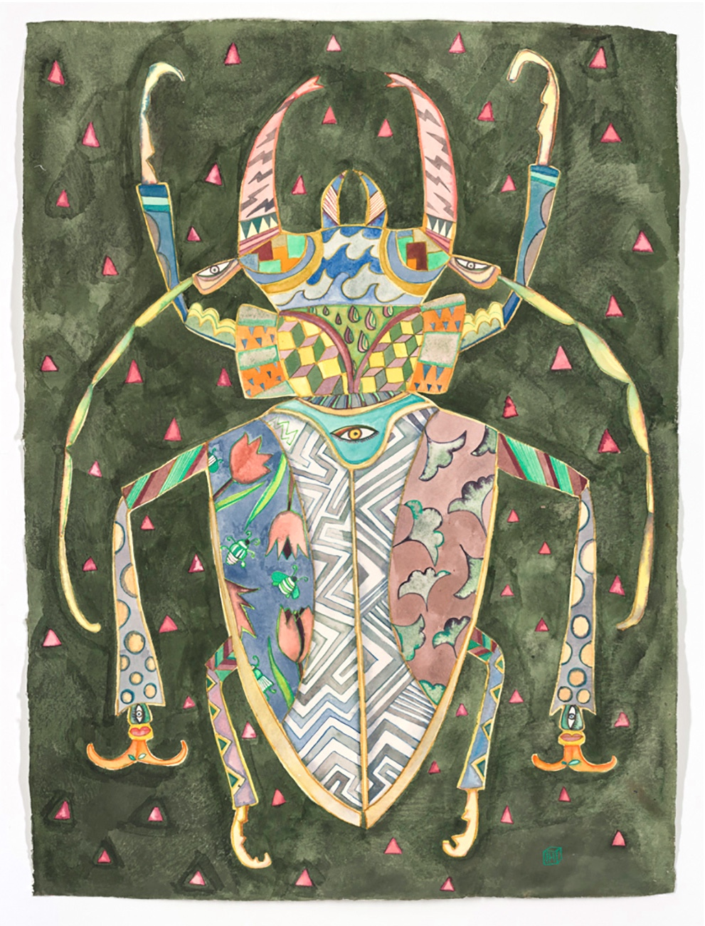 Green coleoptera, 56x76cm, ink on khadi paper