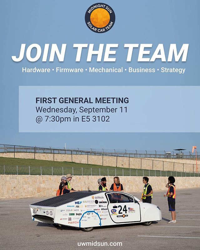JOIN THE TEAM! We are recruiting for our Hardware, Firmware, Mechanical, Business and Strategy sub-teams. Come out to our first general meeting tomorrow at 7:30pm in E5 3102 to learn more!