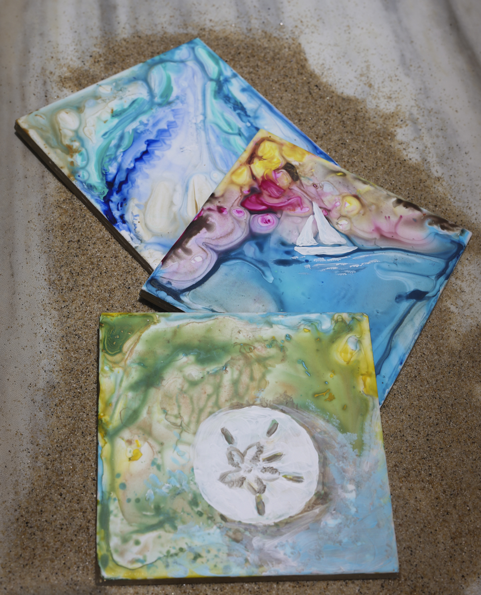 Nautical Coasters - Saturday July 27th 12-2 p.m. Live class at HERE. a pop-up shop 1915 Town Center Blvd Suite 130 Annapolis MD$20 includes 2 coasters and classCreate a beautiful custom set of 2 ceramic coasters with A&A Art. We will lead you through this easy and fun swirl painting nautical coaster workshop. Swirl painting is one of our signature techniques and we love to add metallic paints to give your coaster that extra pop! Nautical elements are added according to your personal taste and ideas.