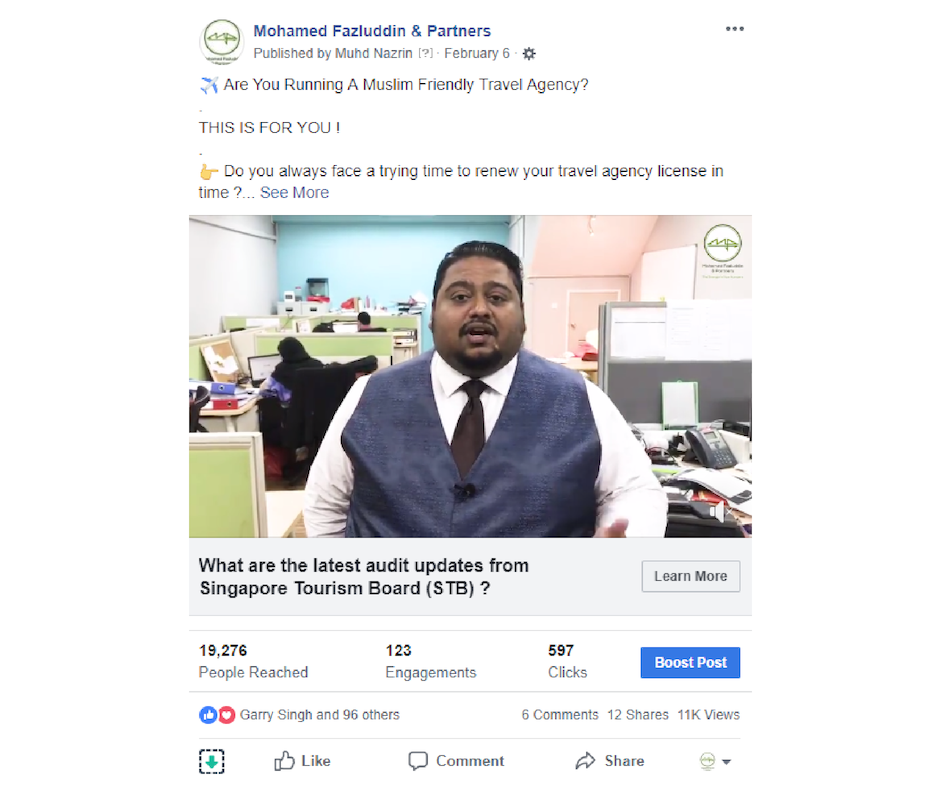 Singapore Facebook Video Campaign For Business