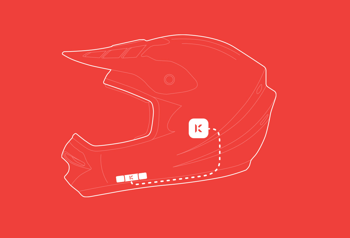3-Button Remote attaches to exterior of helmet