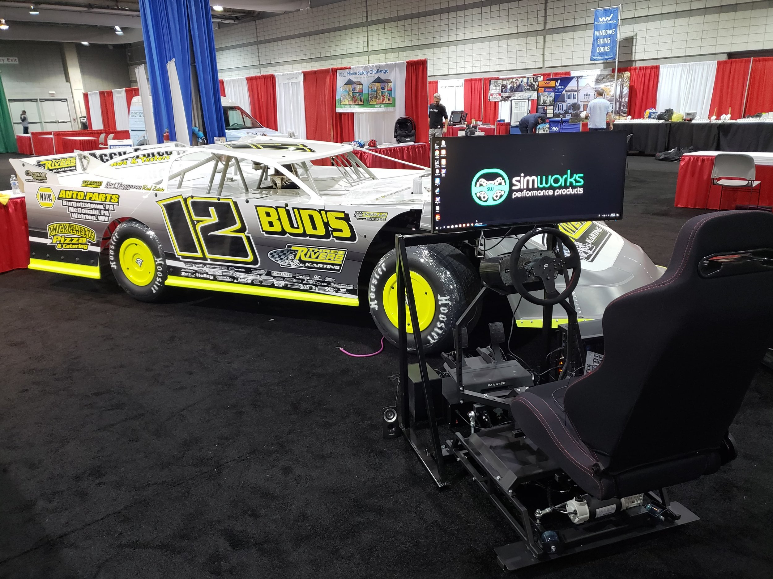 The Three Rivers Karting motion racing simulator powered by SimWorks Performance in action at the Pittsburgh International Auto Show.