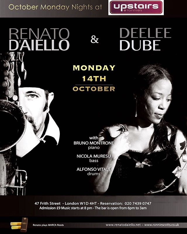 Coming up... @officialrenatojazz Acoustic Jazz Lounge @officialronnies Monday 14th October, 8pm #joinus! x
