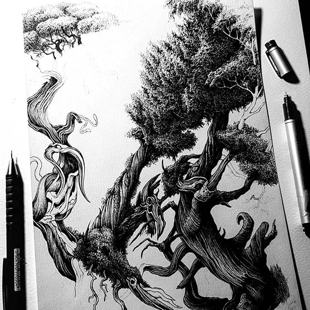 Little progress on this creation. The leaves  are always free and enjoyable to draw but also absolutely kill the fingers with all those little squiggles. 🖤🖤🖤 ... . . . #tree #treedrawing #penfreaks #penandinkillustration #inkonpaper #inkdrawing #blackwork #inkart #karltrewhela #inkdrawing #lineart #linwork #londonart #macabre #psychedelic #tradionalart #instaart #drawingoftheday #copic #darkart