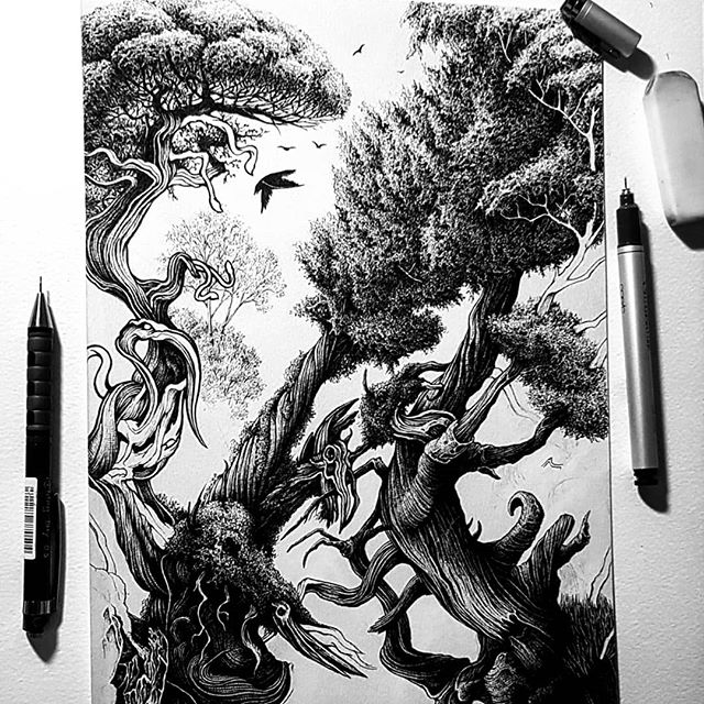 This drawing has been a huge challenge and it's basically never ending. Slowly taking shape now and can finally see it being finished sometime soon 🤞. ... Tell Me I'm Your Wild is the title mainly because this beast has been torturous to tame. ... Thanks for the support always 🖤🖤🖤 ... . . . #penandink #penandinkillustration #inkdrawing #inkonpaper #sketchbook #copic #micron #penfreaks #lineart #linework #instaart #inkfeature #karltrewhela #wild #blackwork #drawingoftheday #sketcheveryday #instaartist #darkart #macabre