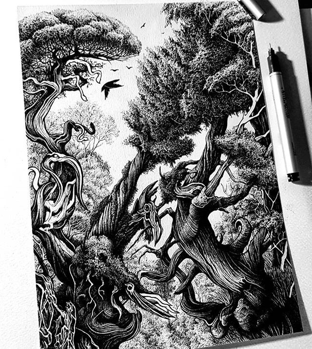 "Finally finished this one but TBH I could go on forever adding little elements. Scroll through for progress shots and ty for sticking with it 🖤. ""Tell me I'm your Wild"". ... .. . #art #penfreaks #londonart #penandink #forest #trees #inkart #drawingsketch"