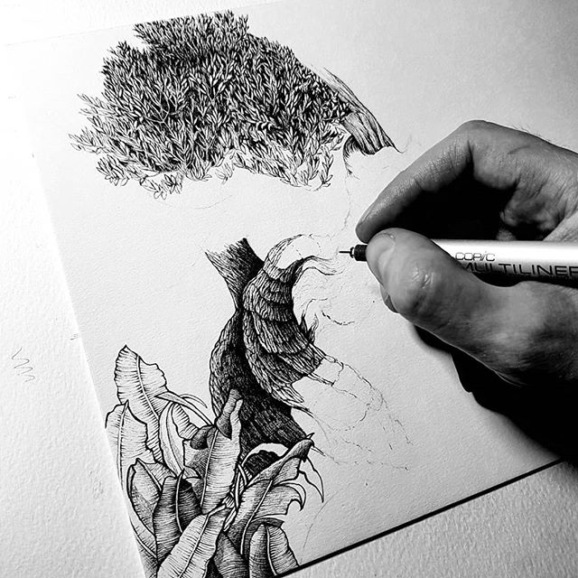 A little start on something. Not sure what yet but thinking maybe tentacles and branches and other weird and wonderful things. Also, trying out this new artboard surface. Very thick and the lines are clean but the scribbles are tough. Not sure if I like it yet but we shall see... ... Thank you all for the support and after reaching 10k I'll post a give away comp soon :) Appreciate the 🖤 always. ... .. . . #drawing #inkillustration #inkdrawing #penandink #darkart #treelove #karltrewhela #blackworkillustration #copic #macabre #londonart #instaartist #linework #penfreaks #sketchbook #traditionalart #trees