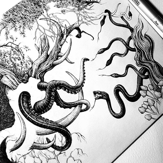 This drawing is both immensely fun to draw and equally frustrating. Just letting my mind go with this one but now bringing it all together as a composition is proving a little difficult :) Octopus or snake tree? Considerable size difference but snakes are crafty... 🖤 ... . . . #penfreaks #octopus #londonart #inkdrawing #inkonpaper #penandinkillustration #penandink #snakes #reptiles #drawing #darkillustratiom #karltrewhela #line #crosshatching #lineart #blackwork #inkart #inklourve #darkart #surrealart #trippy #dreams #fighttillthedeath #horns #horrorart