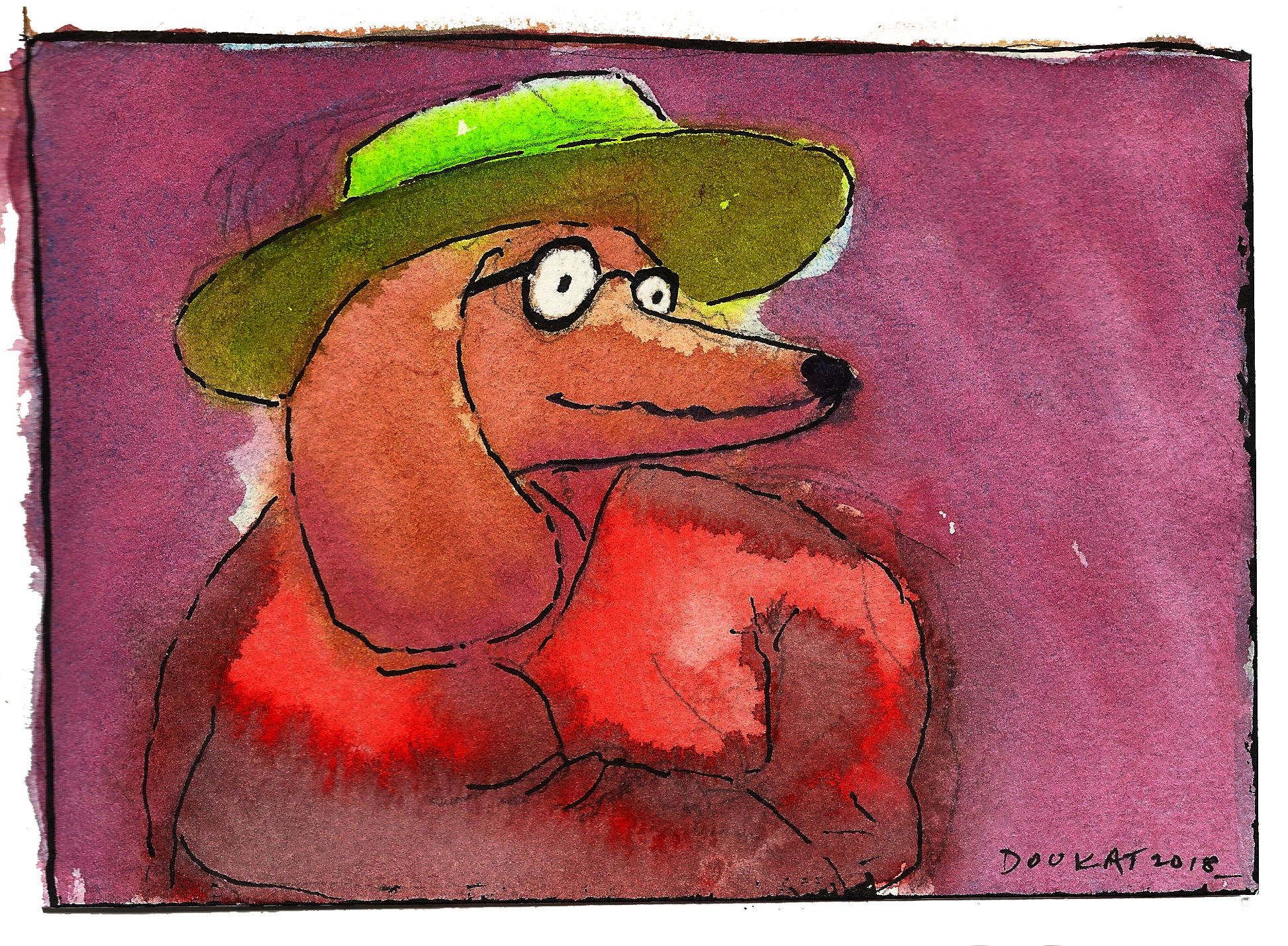 Water color of a buddhist dachsund made with Daniel Smith transparent watercolors