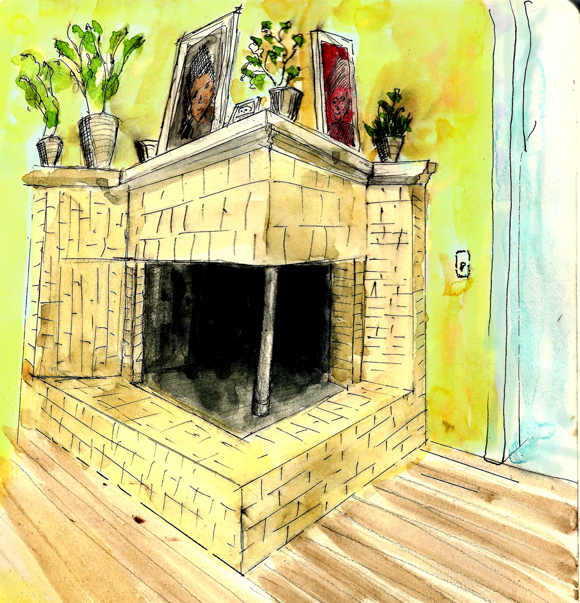 Even though I've looked at this fireplace thousands of times, I couldn't draw it accurately from memory. I used a photo reference for this version.