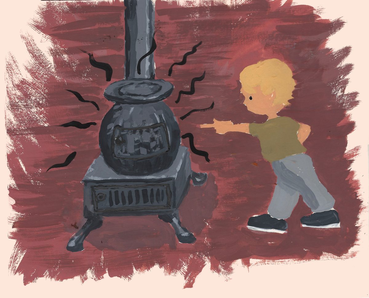 potbelly stove, gouache, children's book, bird trapped in chimney