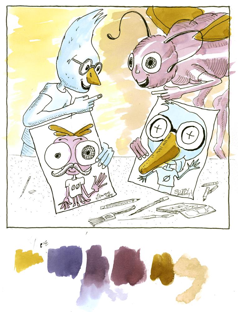 bromance, ecoline liquid watercolor, children's picture book