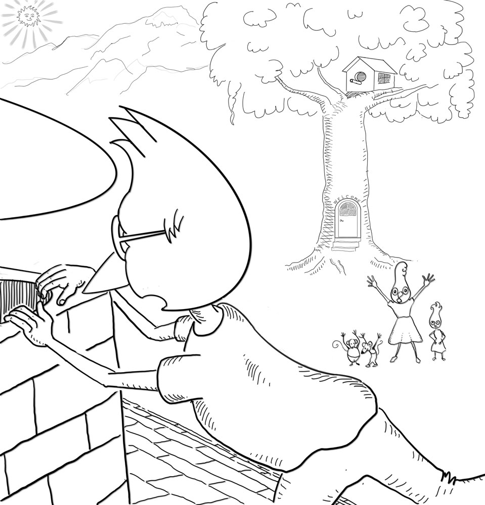 momma_jay_hollers_to_jimmy_on_roof.jpg, children's book, re-inking, adding background