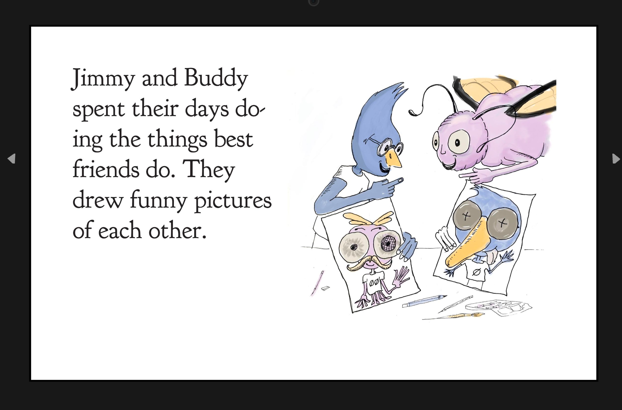 jimmy_buddy_making_fun.png, inDesign, preview,children's picture book