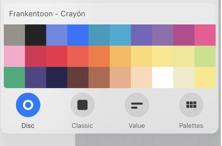 This is the  Frankentoon Crayon color scheme  I'm using for this project.