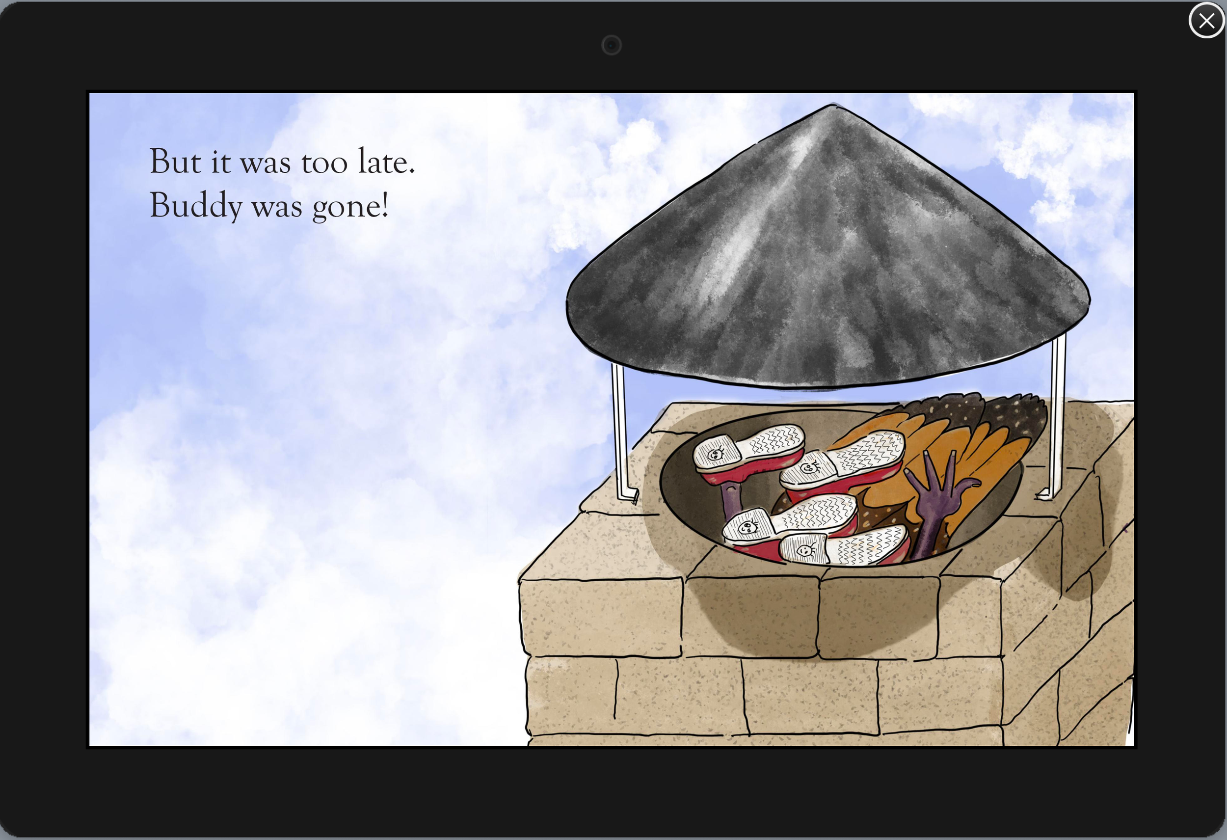too_late_to_save_buddy.png butterfly falls down chimney, children's book, deadlines, delays