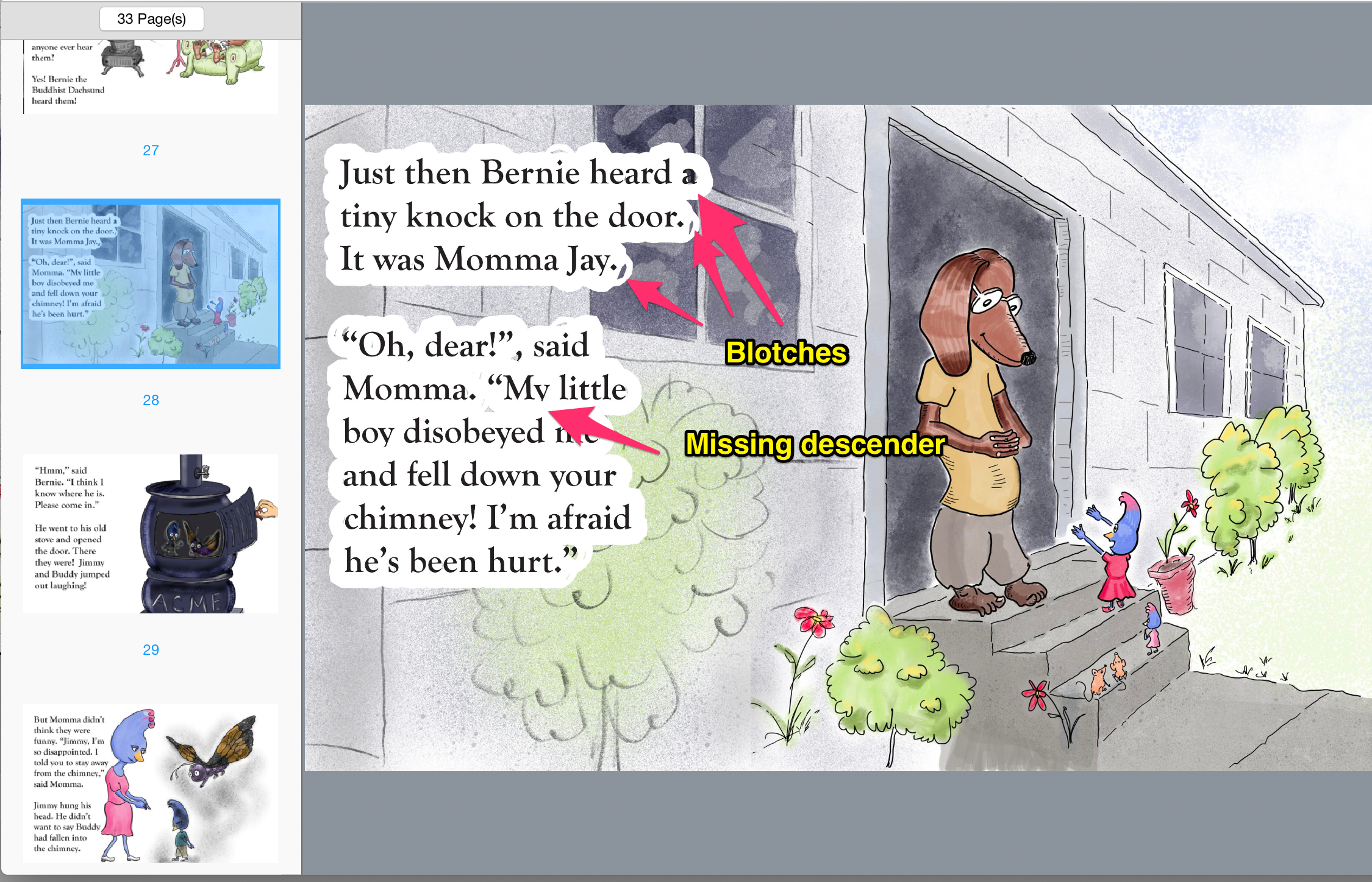 indesign_export_problems.png indesign export artifacts, kindle create artifacts, e-book problems,children's picture book