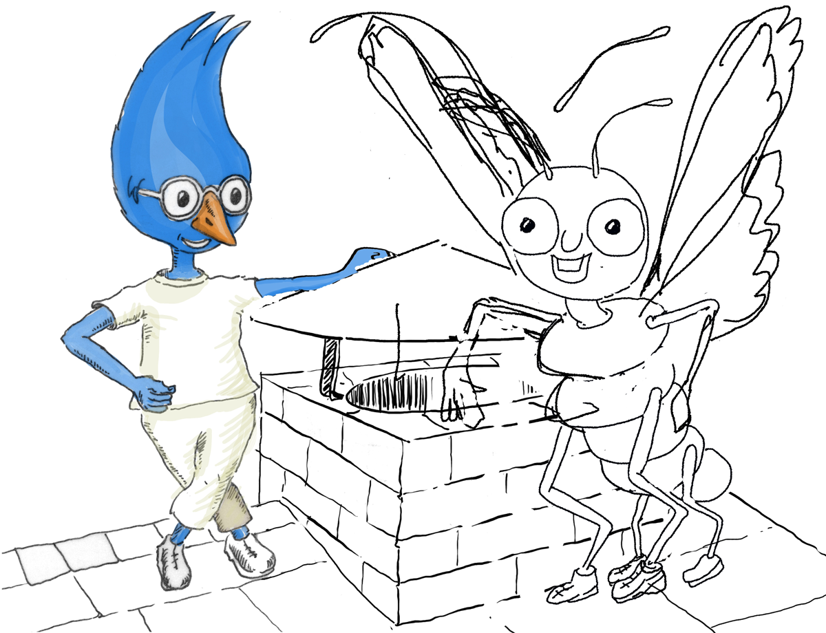inner_splach_page_wip_blog.png Jimmy Jay, Buddy Butterfly working sketch, Procrate, iPad Pro, children's picture book
