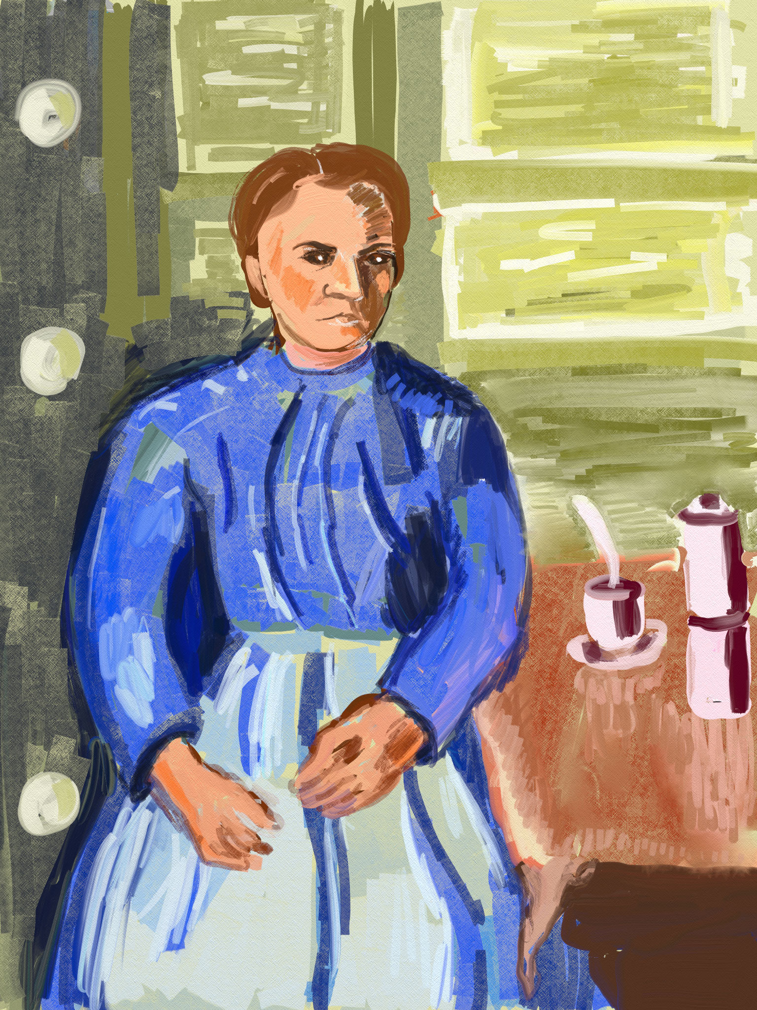 Cezanne-Woman-Coffee-Pot.jpg Al Fresco Art Club, Challenge, One Layer, Digital painting, Artrage