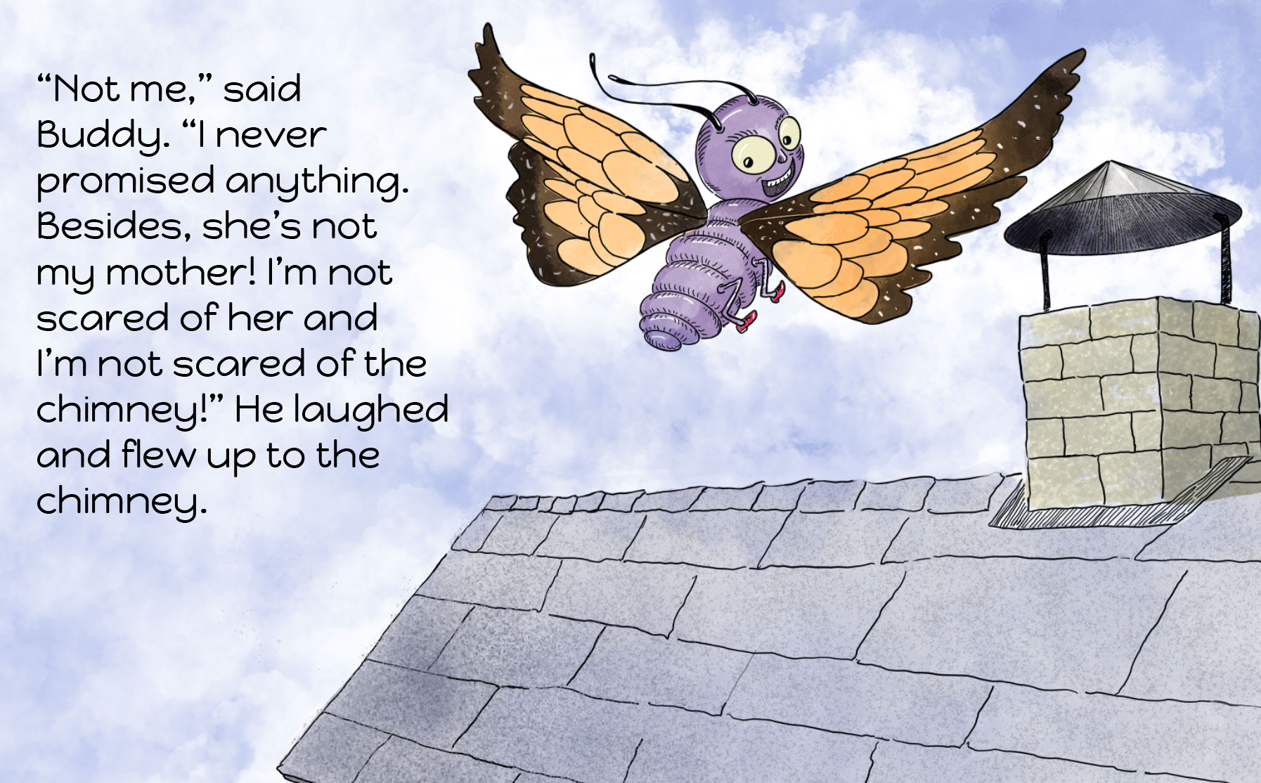 buddy_flies_to_roof_original_blog.png  hd aspect ratio, 16:9, children's picture book, e-book format