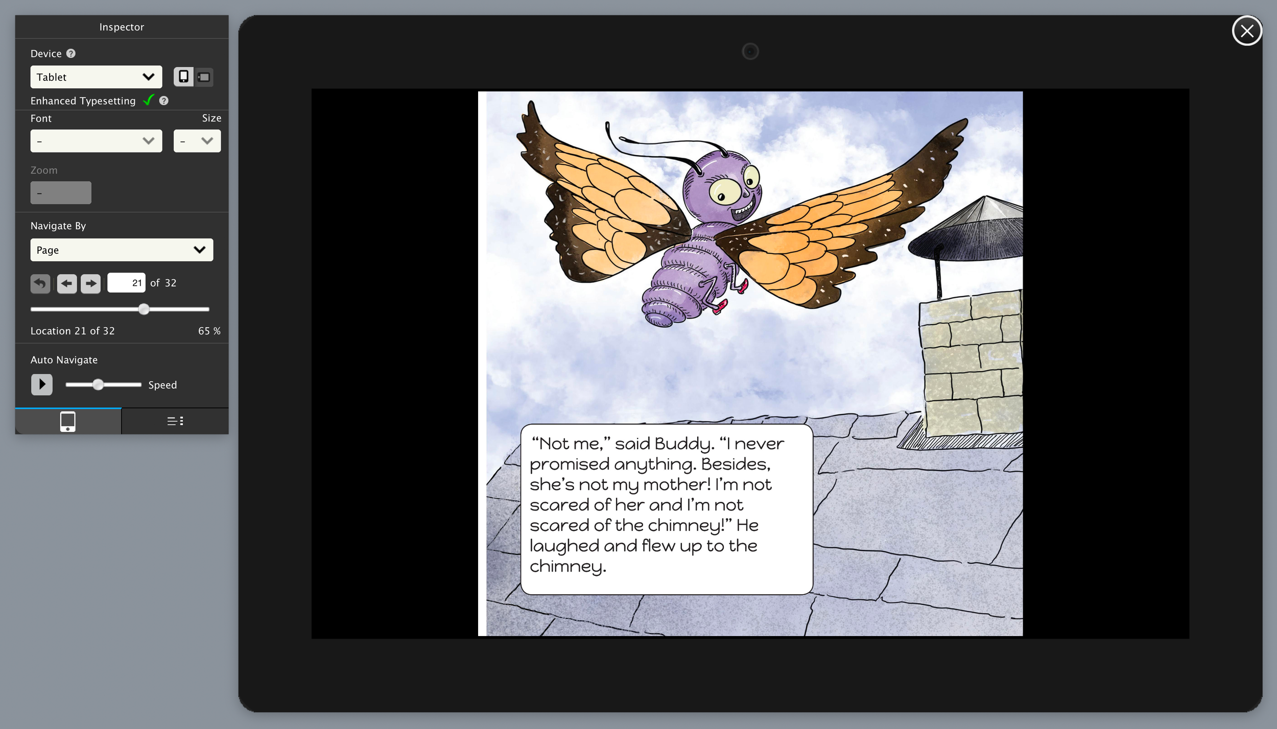 buddy_flies_to_roof_proof_blog.png print version of image, kindle create, indesign