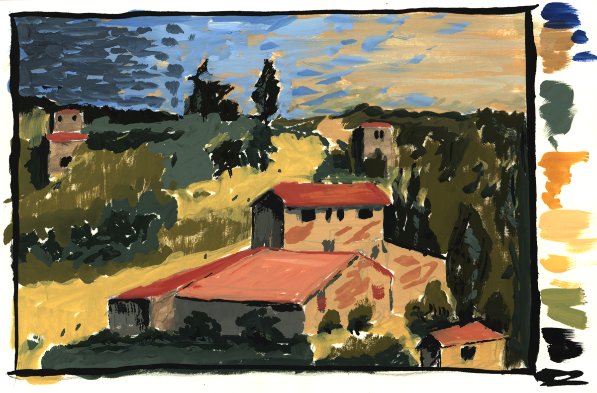 gouache_al_fresco_09012019_blog.png, Cezanne, Fields at Bellevue, Houses near Bellevue, 1892-1895, gouache