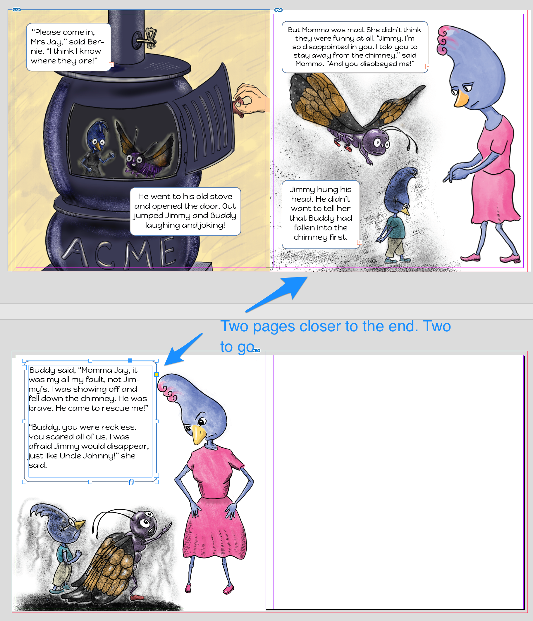 two_pages_to_go_blog.png InDesign, screenshot, overview, children's picture book