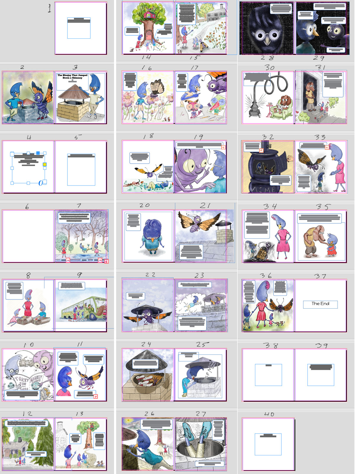 montage_blog.jpg montage of thumbnails, InDesign, Children's picture book, all pages