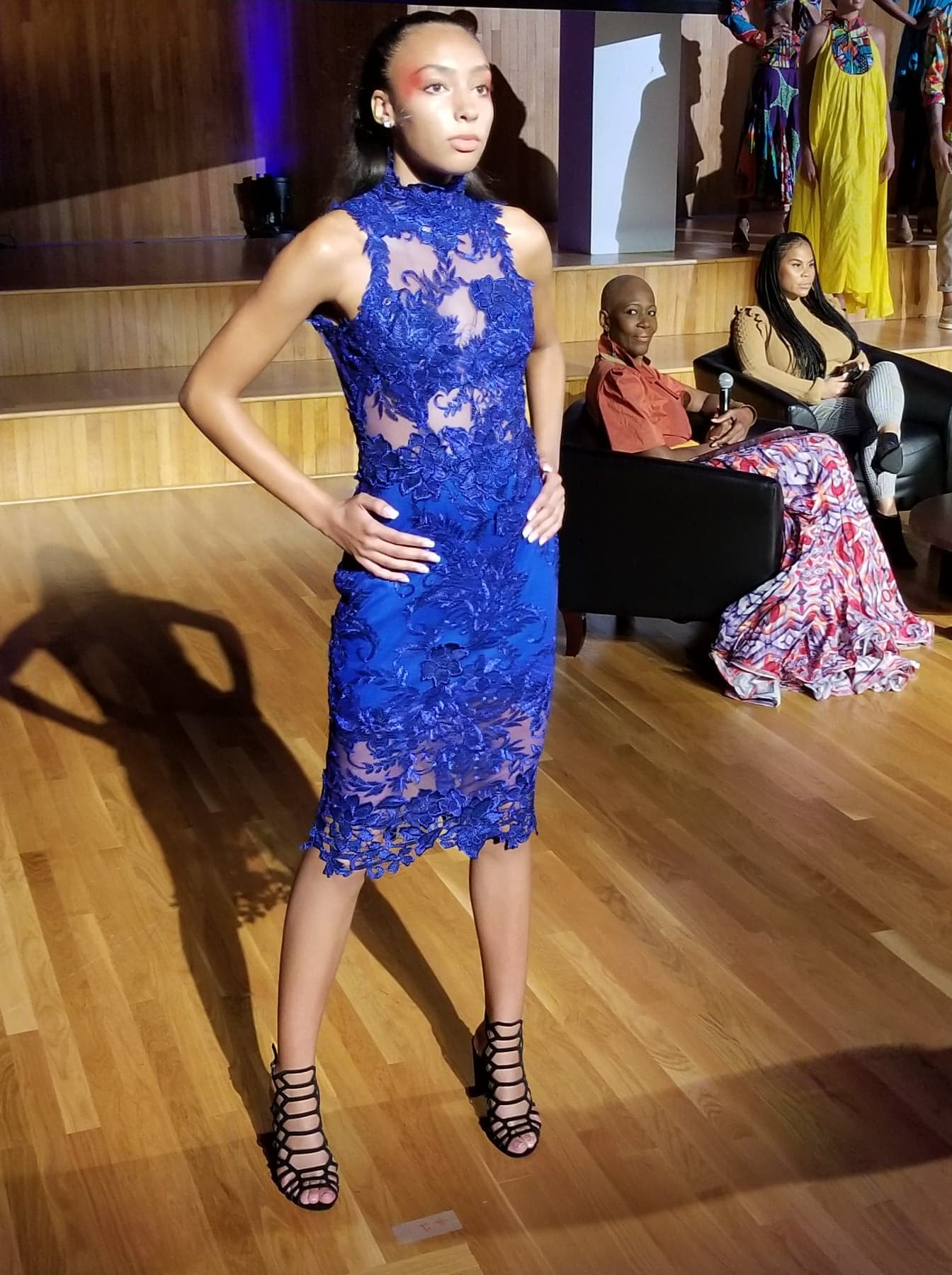 Royal Blue lace dress by Claudia Pegus, photographer Stephen Doobal