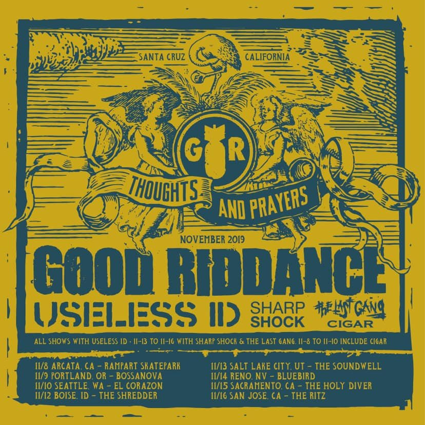 Show Announcements: Cigar w/ Good Riddance, Useless ID, Sharp Shock & The Last Gang - sept 15, 2019