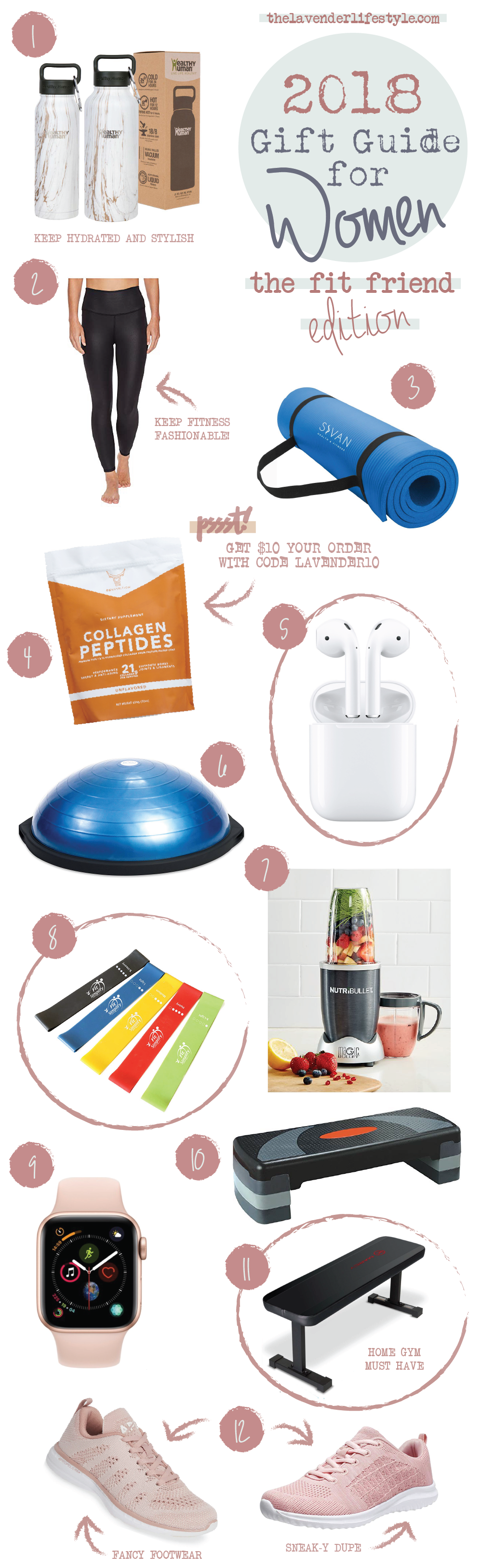 Click to Shop:  1.  Healthy Human Stainless Steel Insulated Water Bottle  | 2.  ALO 7/8 High Waist Airbrush Leggings  | 3.  Sivan Health and Fitness Comfort Foam Yoga Mat  | 4.  Ox Nutrition Collagen Peptides  | 5.  Apple AirPods  | 6.  Bosu Balance Trainer  | 7.  NutriBullet High-Speed Blender  | 8.  Fit Simplify Resistance Loop Exercise Bands  | 9.  Apple Watch Series 4  | 10.  KLB Sport Adjustable Workout Stepper  | 11.  Marcy Utility Flat Bench  | 12.  APL Techloom Pro Running Shoe  –  Fancy Footwear   OR   YILAN Fashion Sneakers  –  Sneak-y Dupe