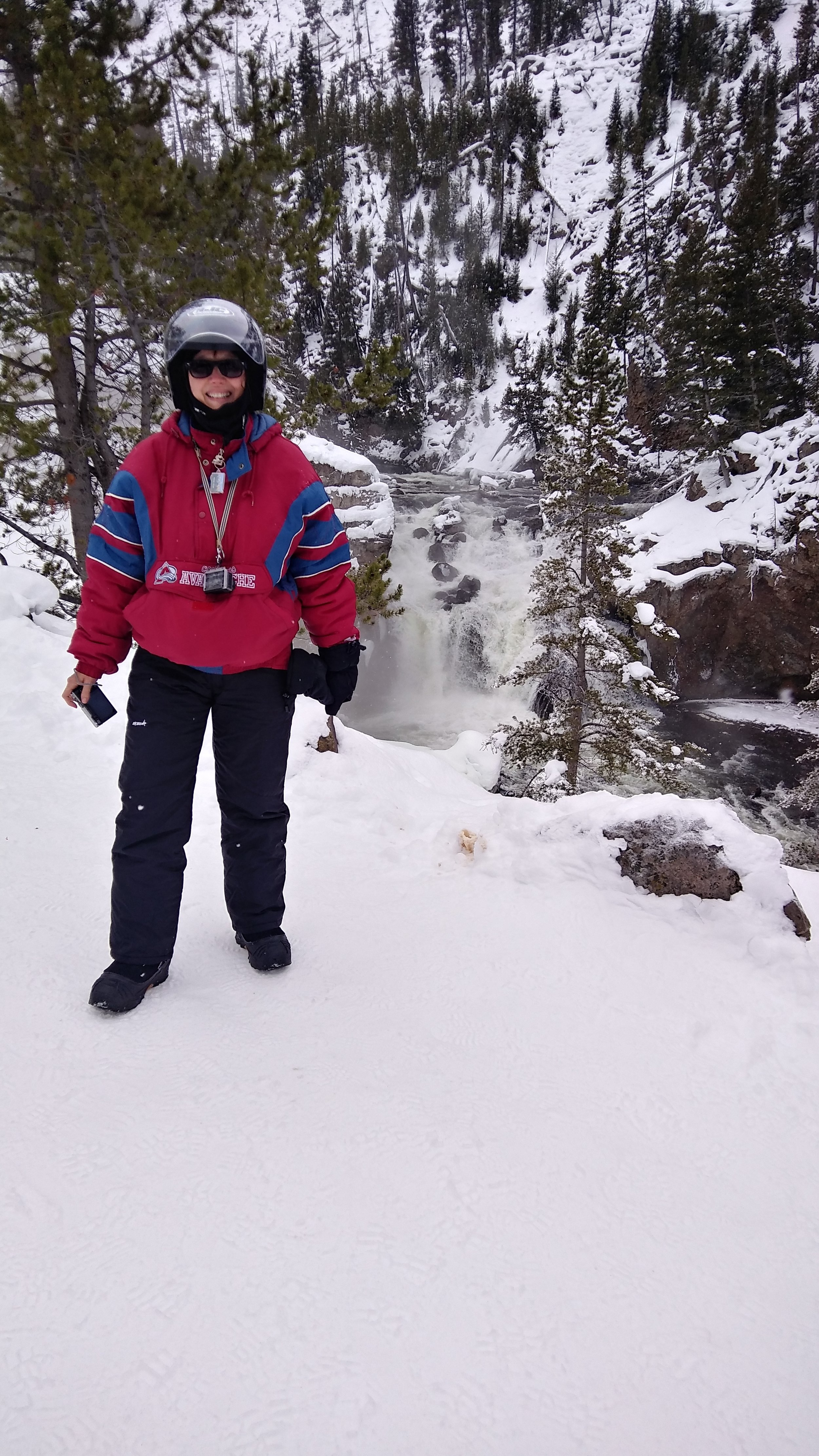 At the glorious Firehole Falls in Yellowstone National Park