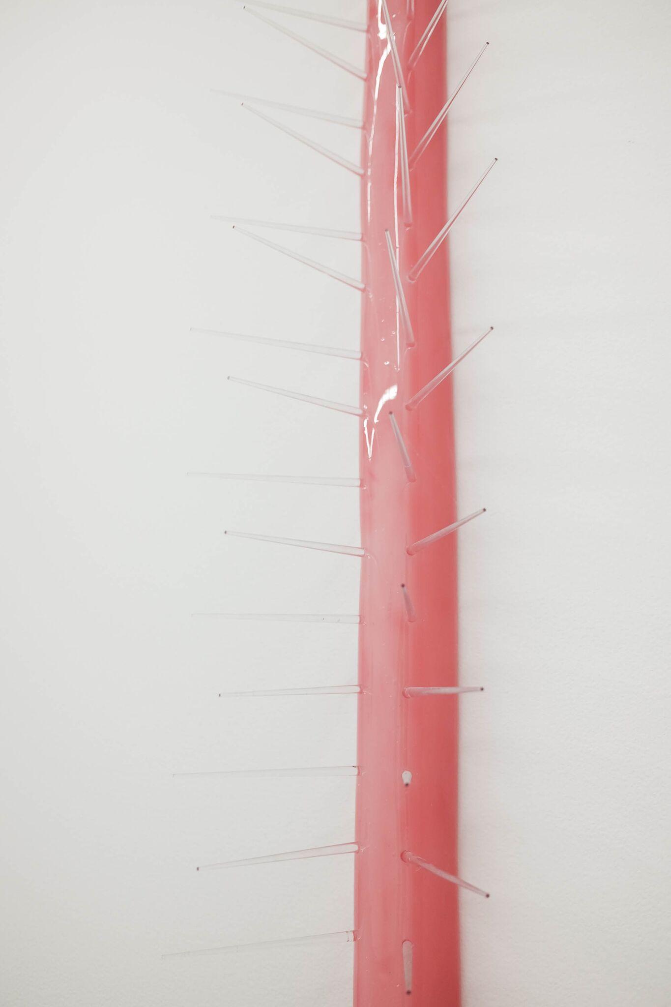 Karen Lofgren Detail:  DEFENDER #4 , 2018 epoxy, wool, acrylic, pigeon spikes 34 x 2 x 4 1/2 in (86.4 x 5.1 x 11.4 cm)