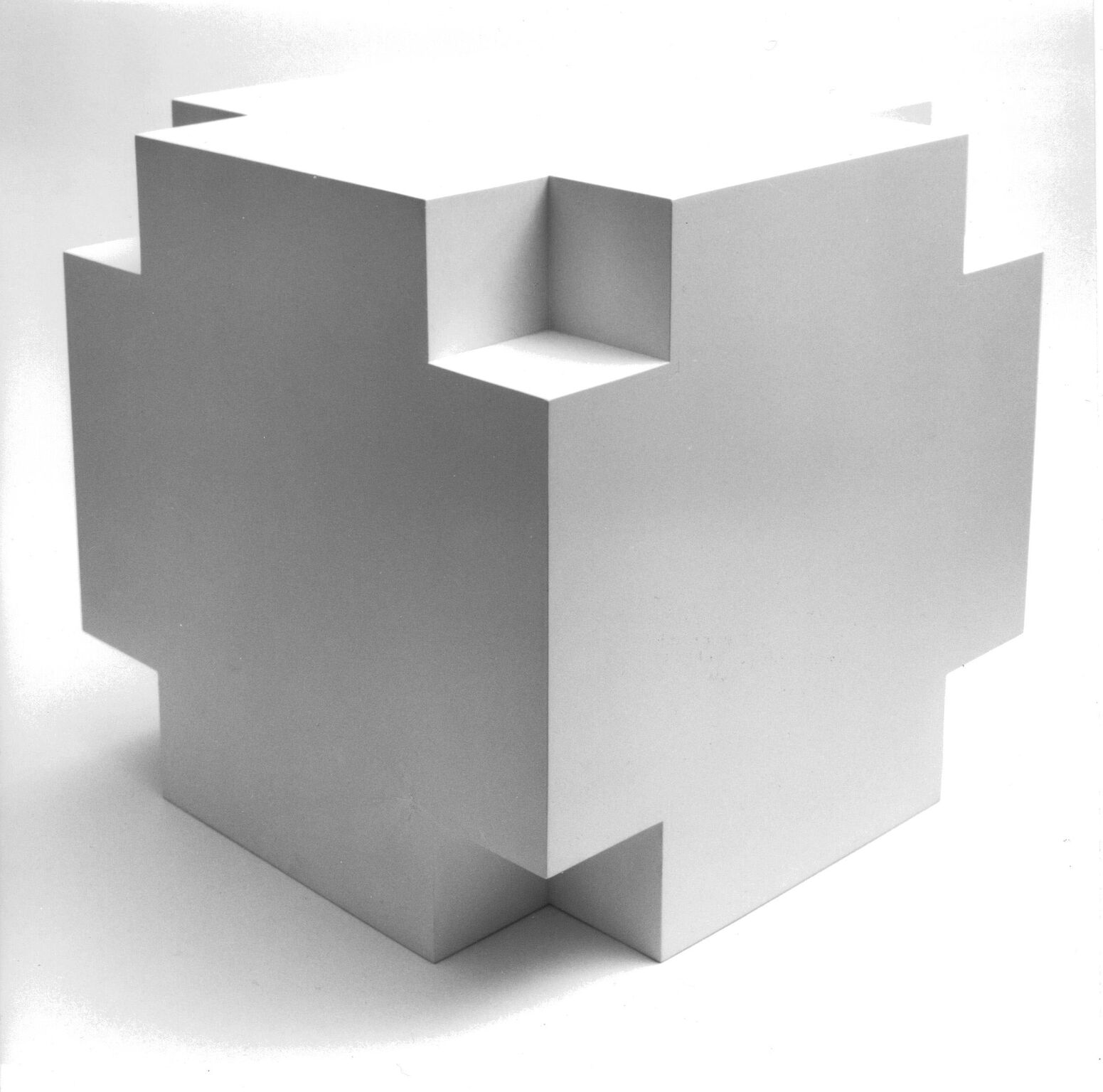 Ewerdt Hilgemann  Cube Structure 134 #720134 , 1972 wood, painted white 23 5/8 x 23 5/8 x 23 5/8 in (60 x 60 x 60 cm)