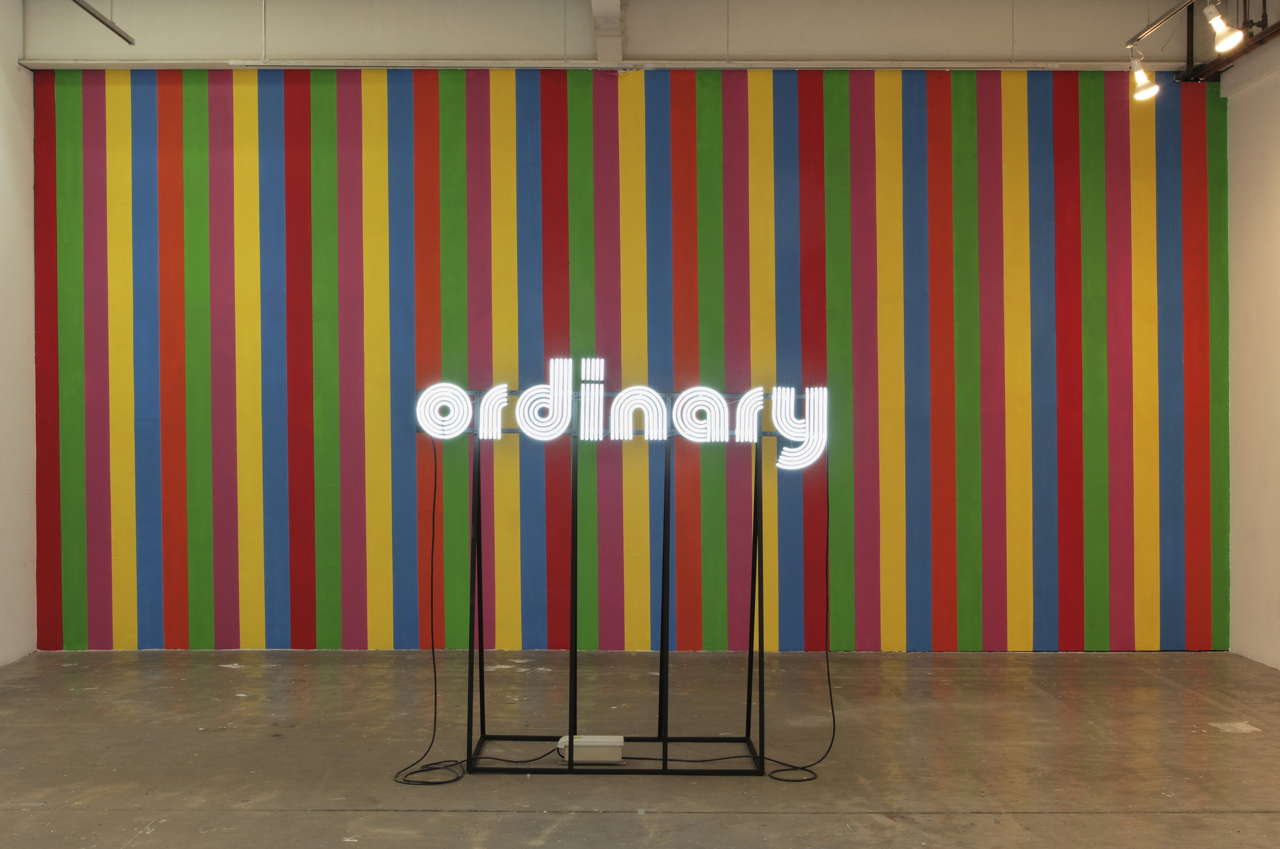 Kristin McIver  Lifeless lll , 2009 neon and steel, synthetic polymer paint (neon stand and wall) 67 x 68 x 28 in (170.2 x 172.7 x 71.1 cm)