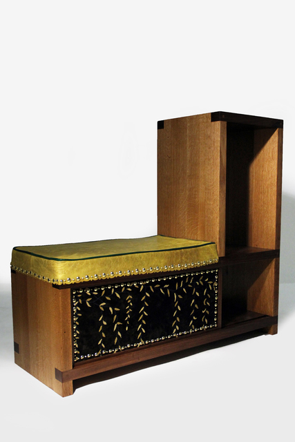 Joel Otterson Mixed Marriage (In Love Seat) , 2018 walnut, oak, aromatic cedar, leather, embroidered velvet, and brass 44 × 50 × 18 in (111.8 × 127 × 45.7 cm)