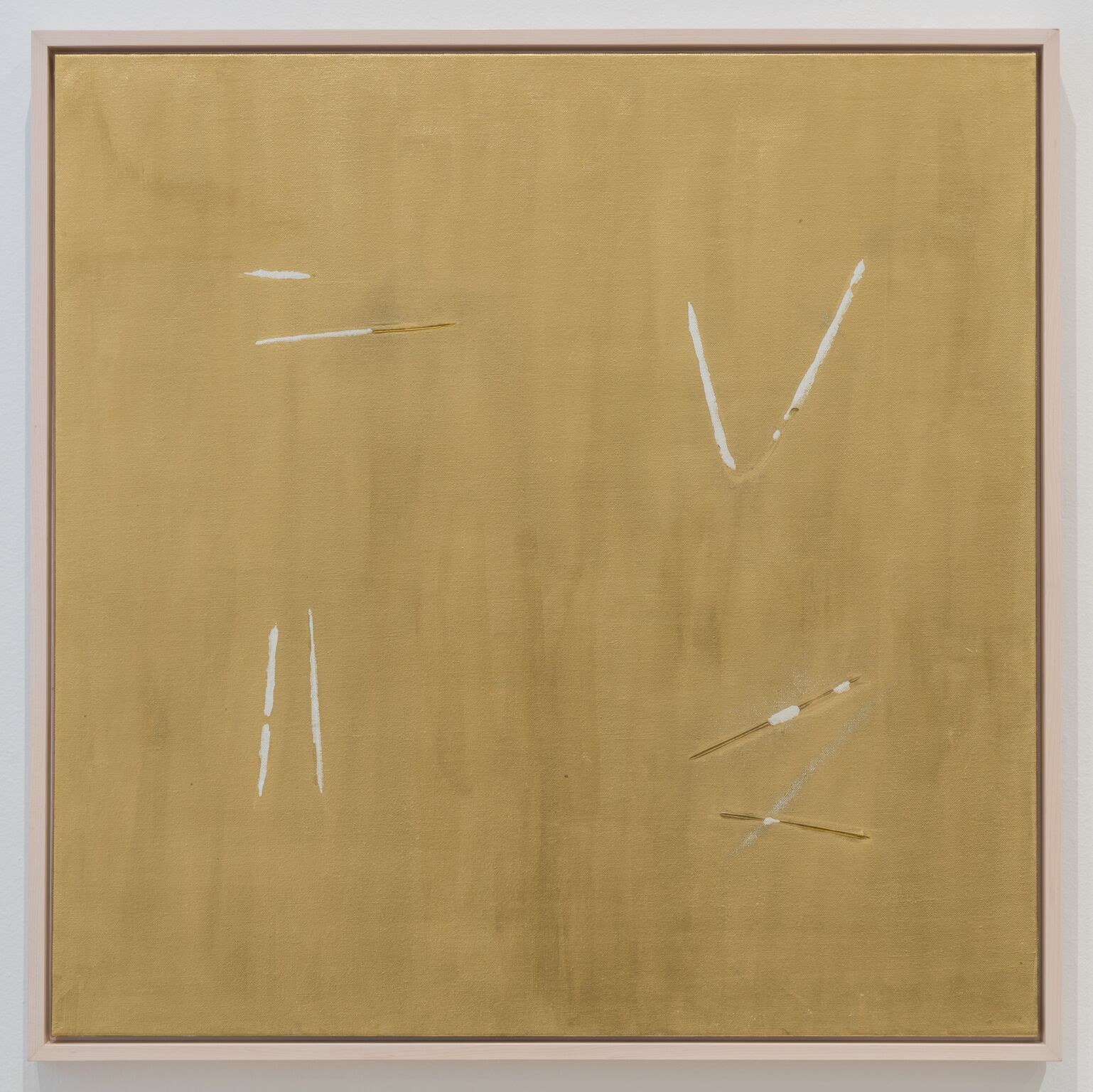 Alejandro Diaz  Repeal (Hangers) , 2017 14K gold pigment and acrylic medium on canvas 30 x 30 in (76.2 x 76.2 cm)