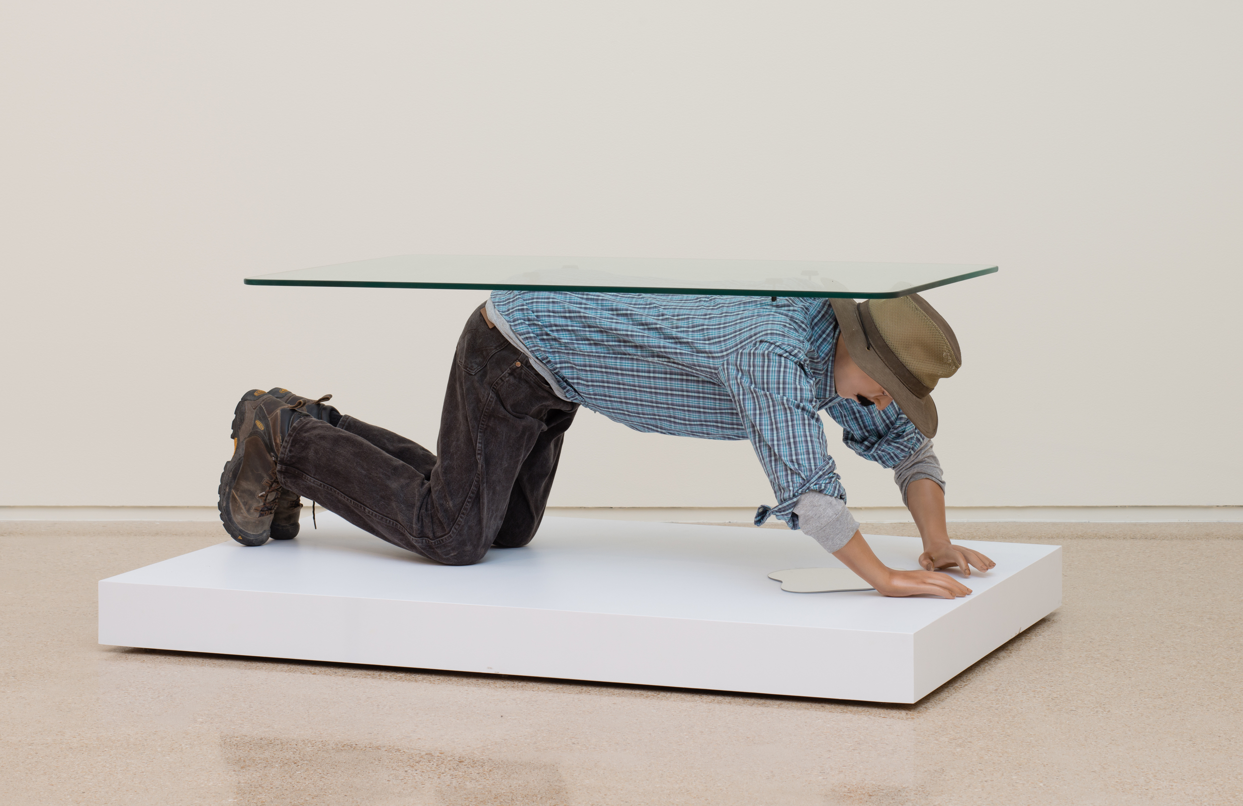 Alejandro Diaz  Muebles (Table),  2015 cast resin, paint, clothing, hair, and glass 62 x 32 x 21 in (157.48 x 81.28 x 53.34 cm)