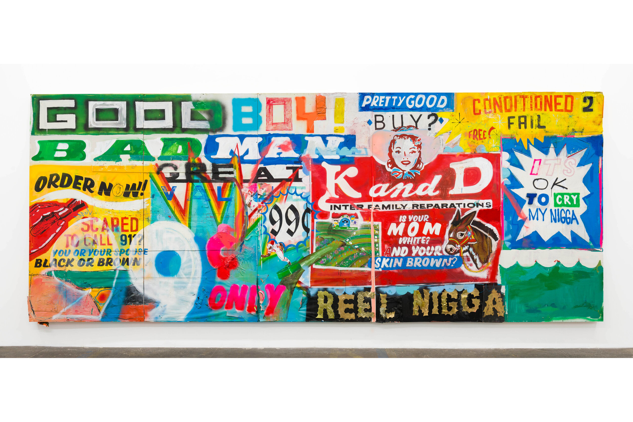 Devin Reynolds  Pretty Good , 2019 mixed media 96 x 240 in (243.8 x 609.6 cm)