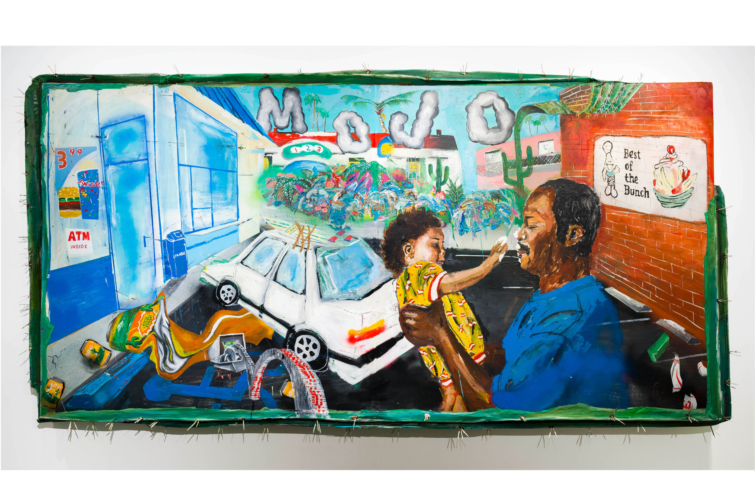 Devin Reynolds  Shuga Baby , 2019 acrylic and spray enamel on wood panel 48 x 96 in (121.9 x 243.8 cm)