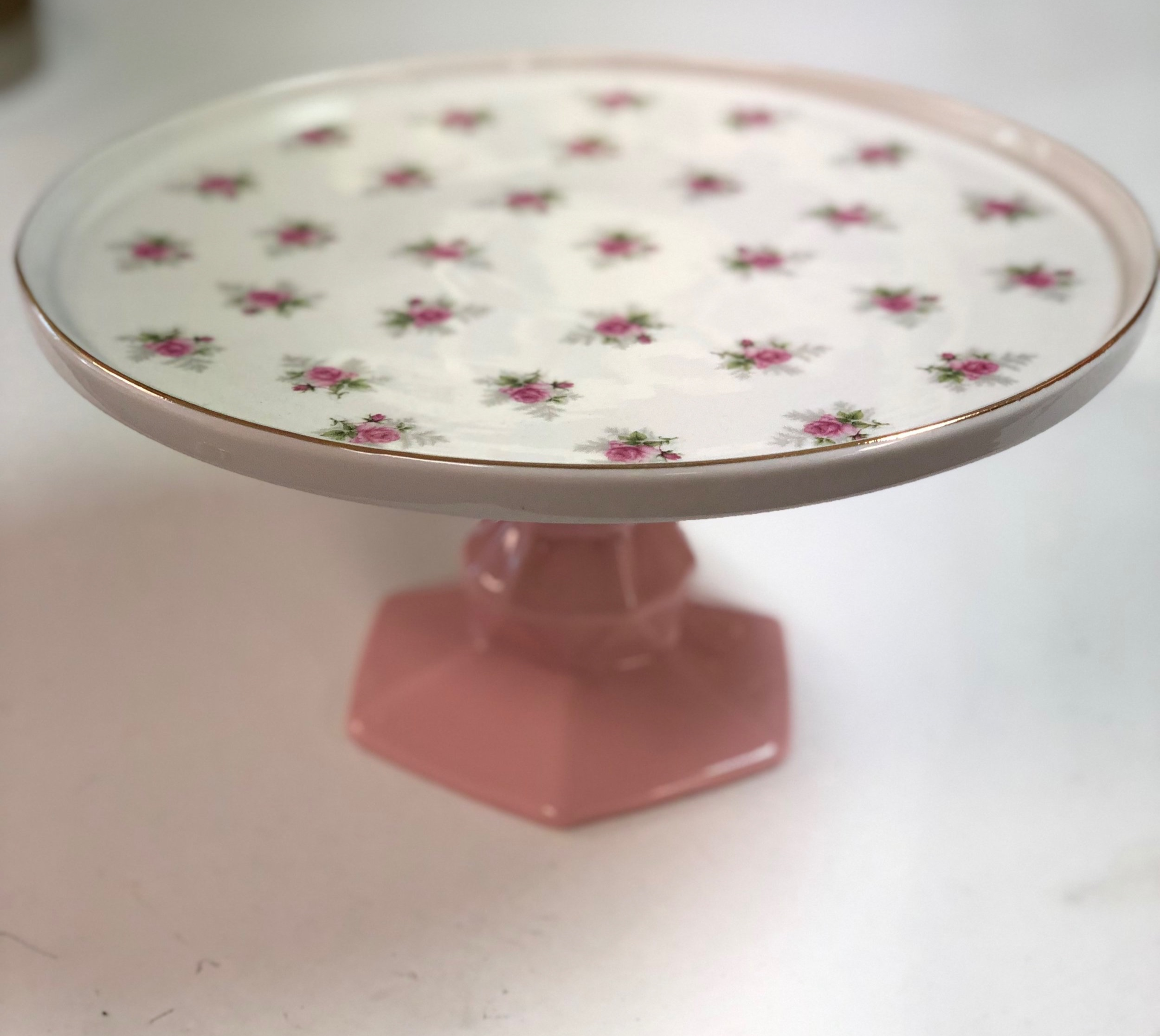 White/Pink Floral Cake Stand