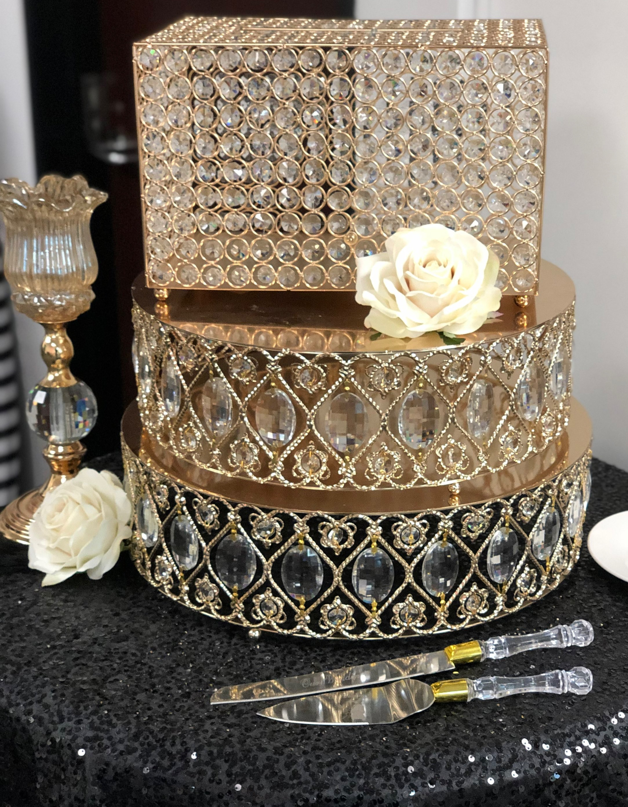 Large Gold Crystal Cake Stands